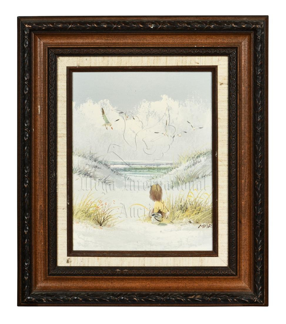 FRAMED OIL ON CANVAS PAINTING 'CHILD AND BIRDS'