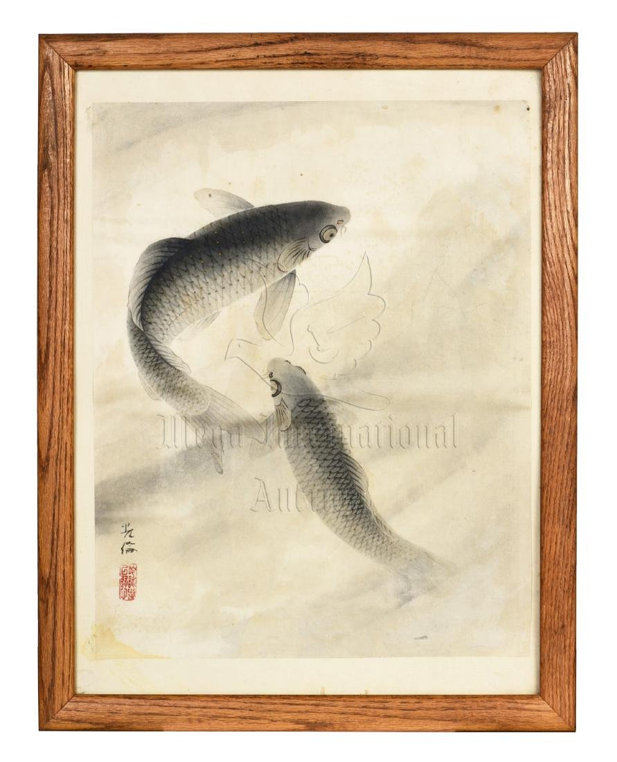 FRAMED INK ON PAPER PAINTING 'FISH'