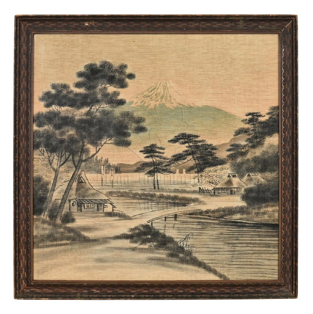 FRAMED INK AND COLOR ON CLOTH PAINTING 'LANDSCAPE