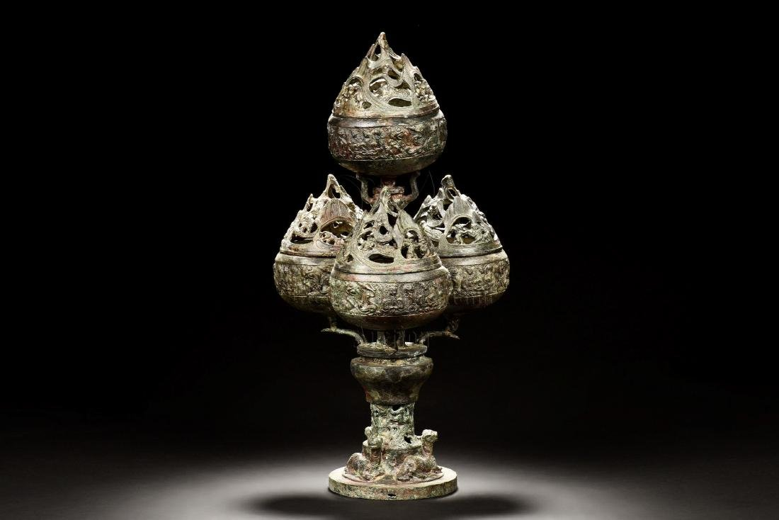 ARCHAIC BRONZE CAST TIERED CENSER