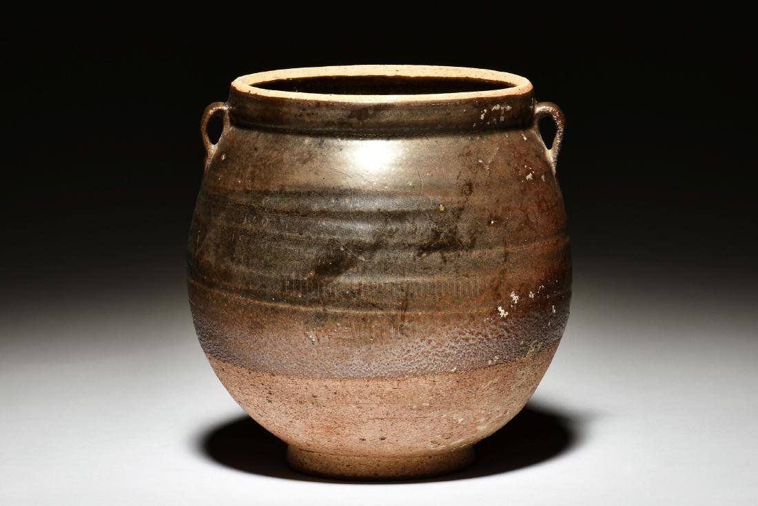 GLAZED JAR WITH TWO SMALL HANDLES
