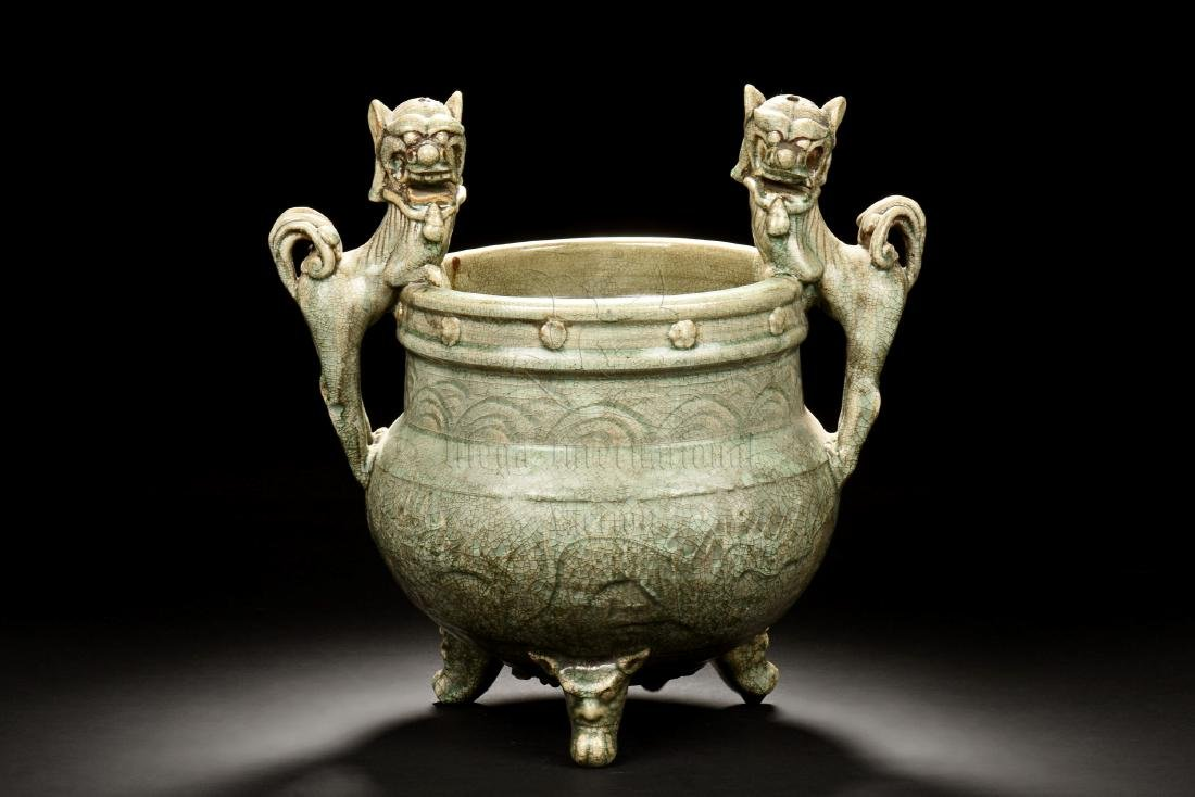 YAOZHOU WARE LARGE TRIPOD CENSER WITH BEAST HANDLES