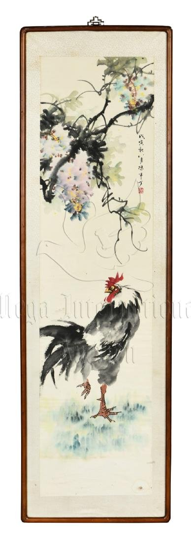 CHEN BANDING: FRAMED INK AND COLOR ON PAPER PAINTING