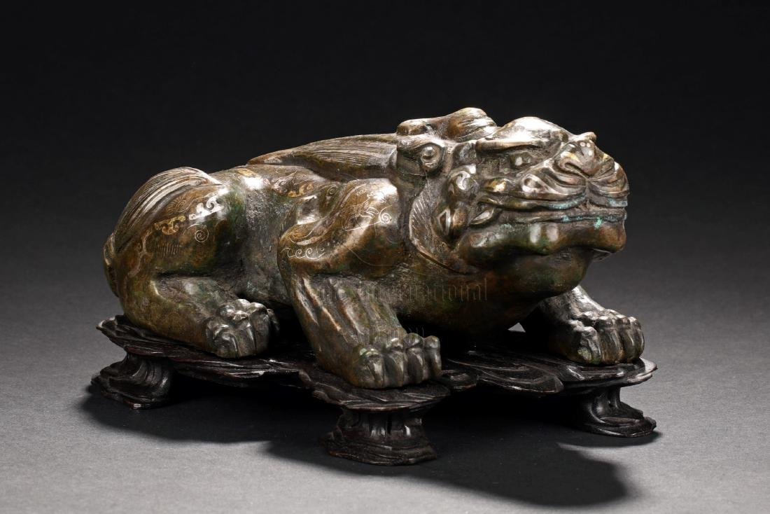 GILT BRONZE 'MYTHICAL BEAST' FIGURE WITH STAND