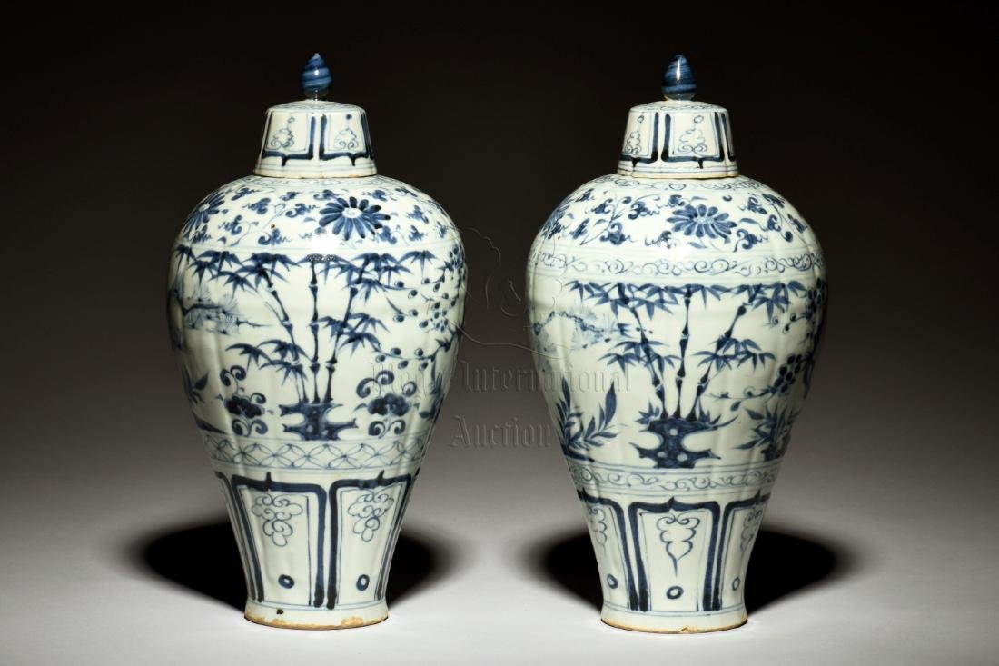 PAIR OF BLUE AND WHITE VASES WITH COVER, MEIPING