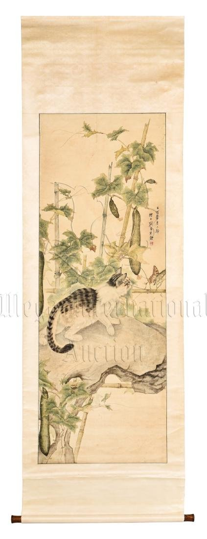 LIU KUILING: INK AND COLOR ON PAPER PAINTING 'CAT'
