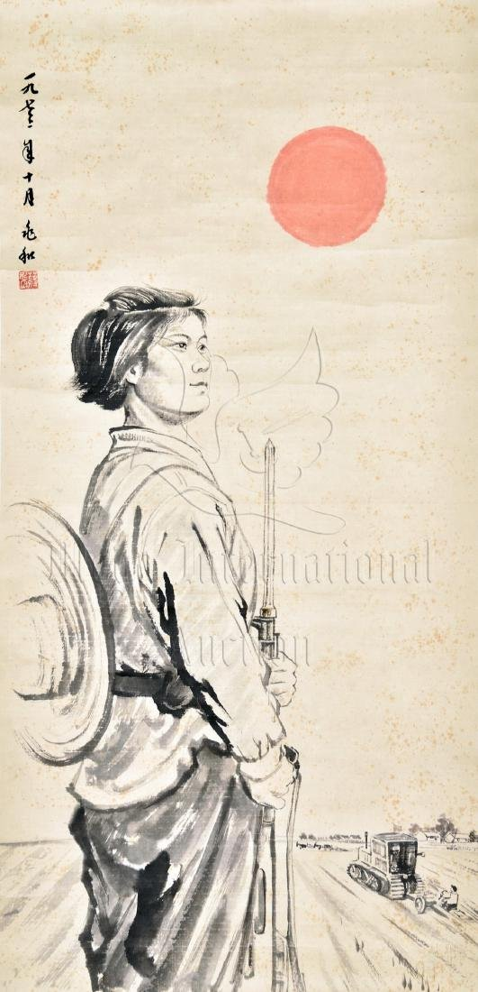 JIANG ZHAOHE: INK AND COLOR ON PAPER PAINTING 'FEMALE