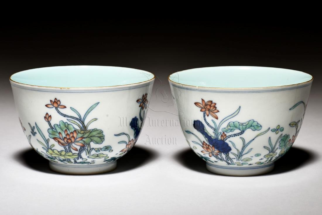 """A PAIR OF CHINESE """"FLOWERS"""" PORCELAIN CUPS"""