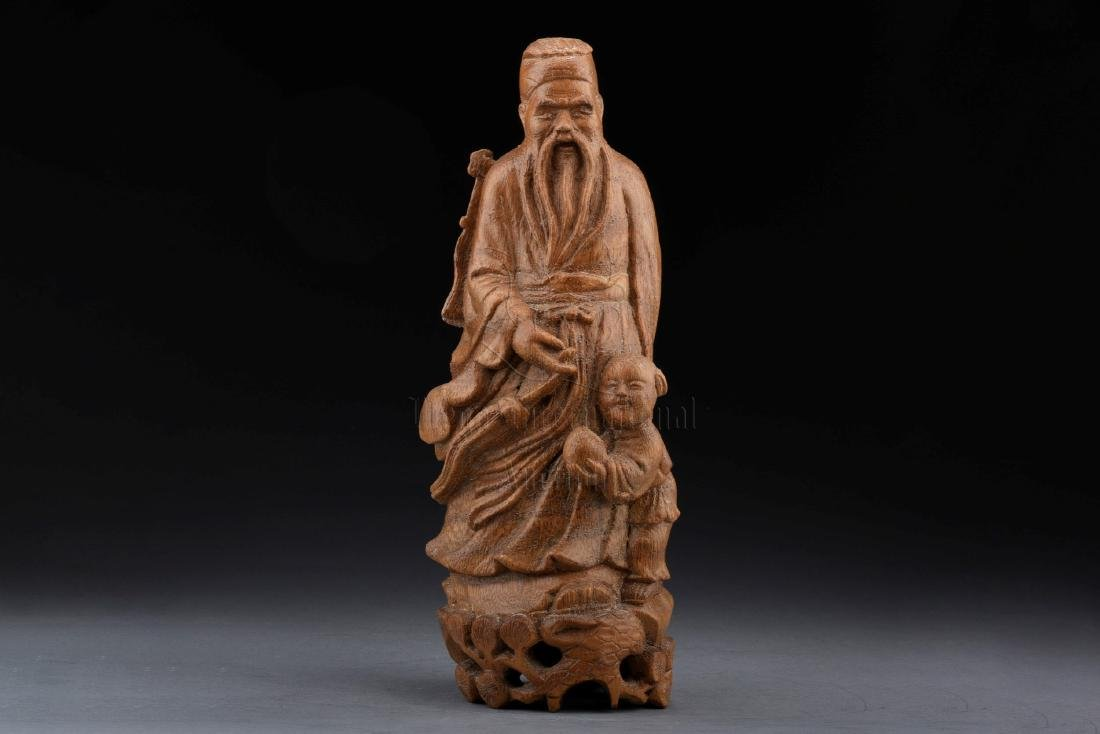 BAMBOO CARVED 'ELDER AND BOY' FIGURAL GROUP
