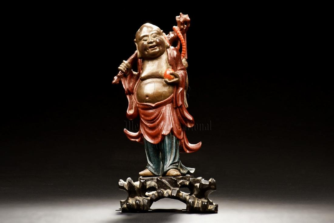 WOOD PAINTED AND CARVED MAITREYA BUDDHA FIGURE