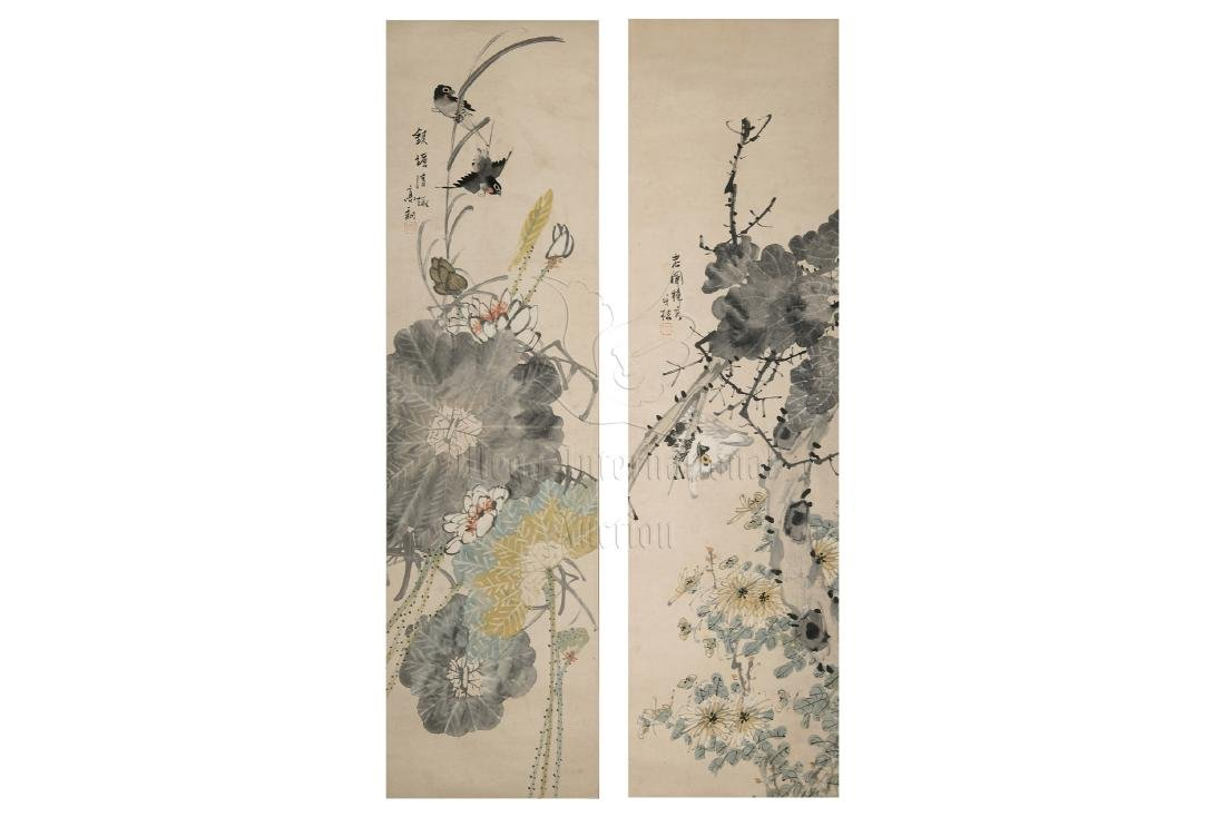 GAO LANG: SET OF FOUR INK AND COLOR ON PAPER PAINTINGS