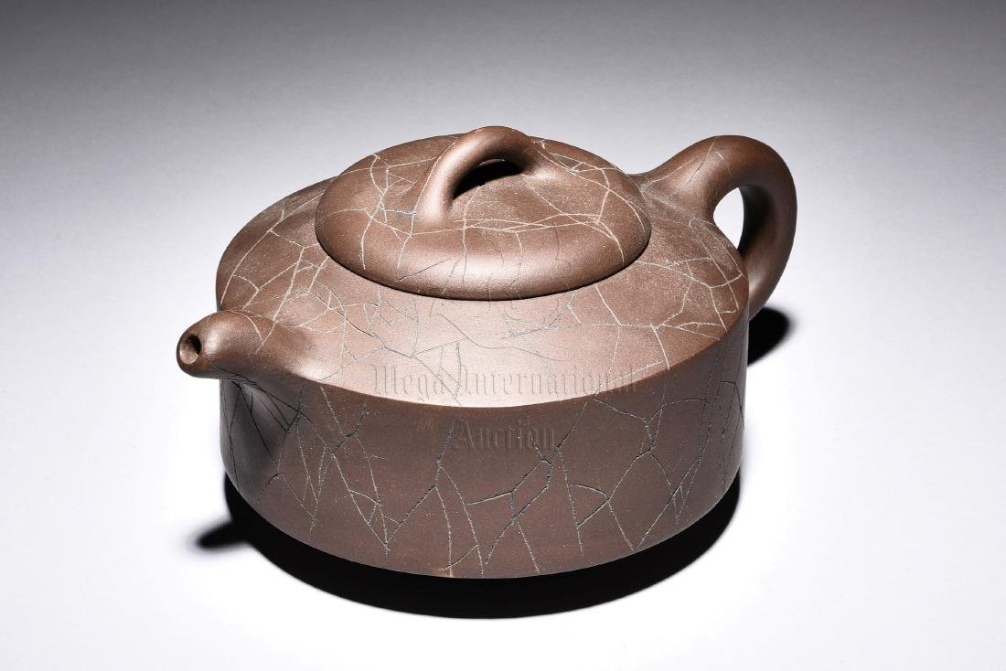 YIXING ZISHA CRACKLE PATTERN TEAPOT