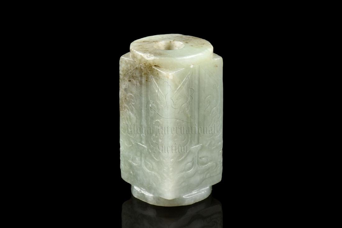 JADE CARVED 'TAOTIE MASK' ORNAMENT, CONG