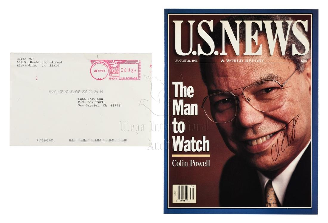 SECRETARY OF STATE COLIN POWELL SIGNED MAGAZINE COVER
