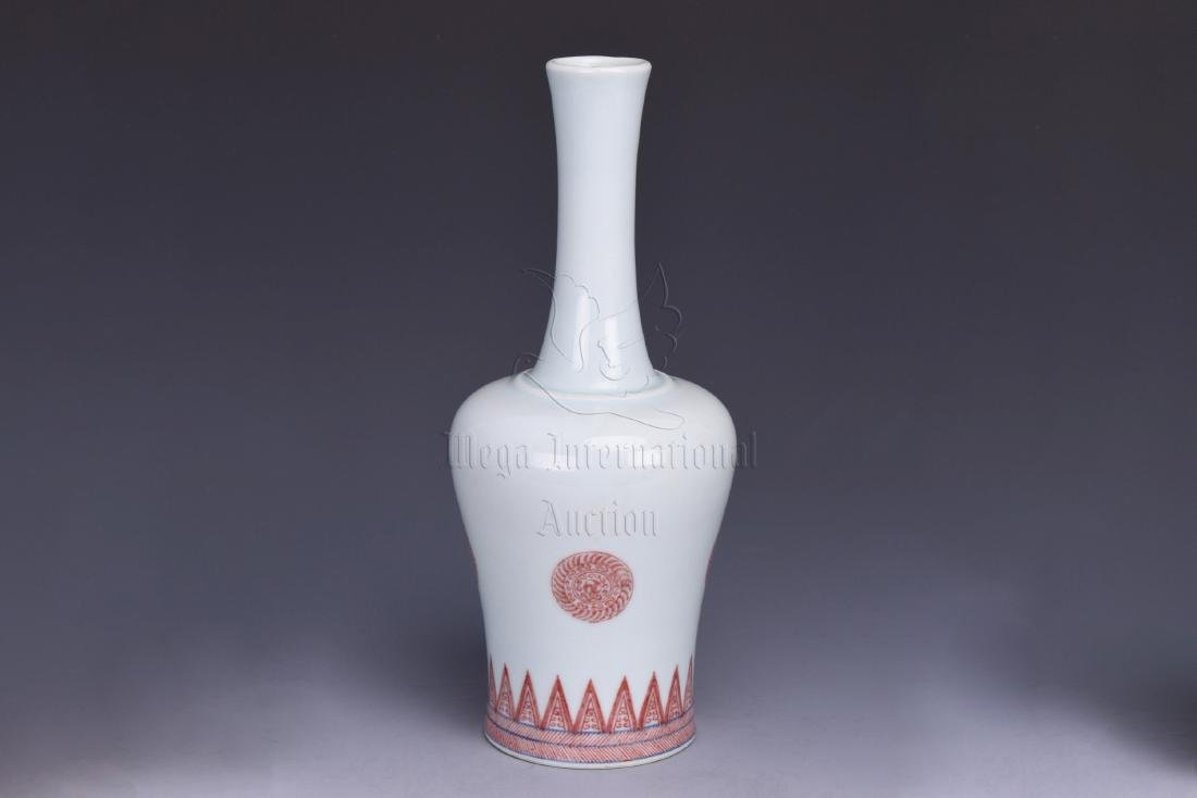 UNDERGLAZED RED BOTTLE VASE