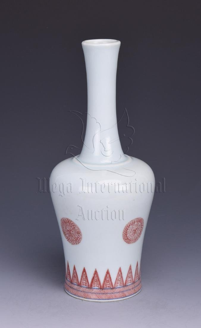 UNDERGLAZED RED BOTTLE VASE - 2