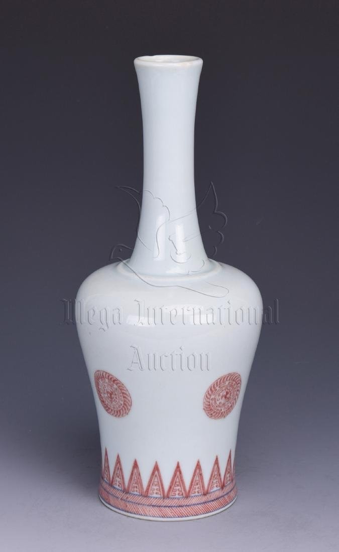 UNDERGLAZED RED BOTTLE VASE - 4
