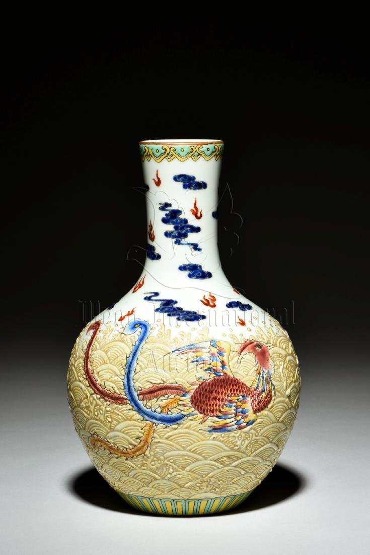 FAMILLE ROSE AND CARVED 'DRAGON & PHOENIX' VASE - 2