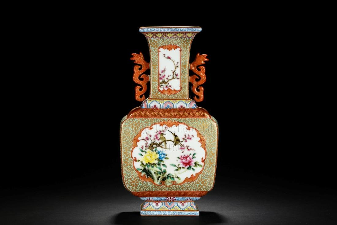 FAMILLE ROSE AND ENAMELED 'FLOWERS' VASE WITH HANDLES