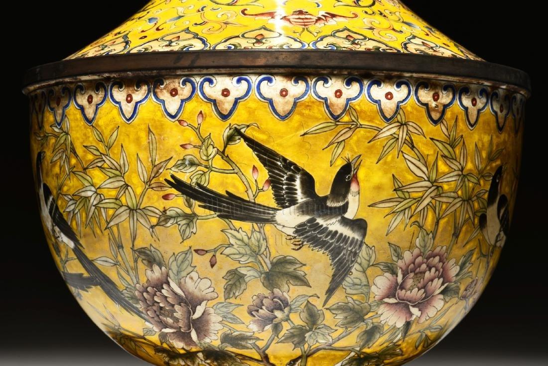 CLOISONNE ENAMELED 'FLOWERS AND BIRDS' VASE - 3
