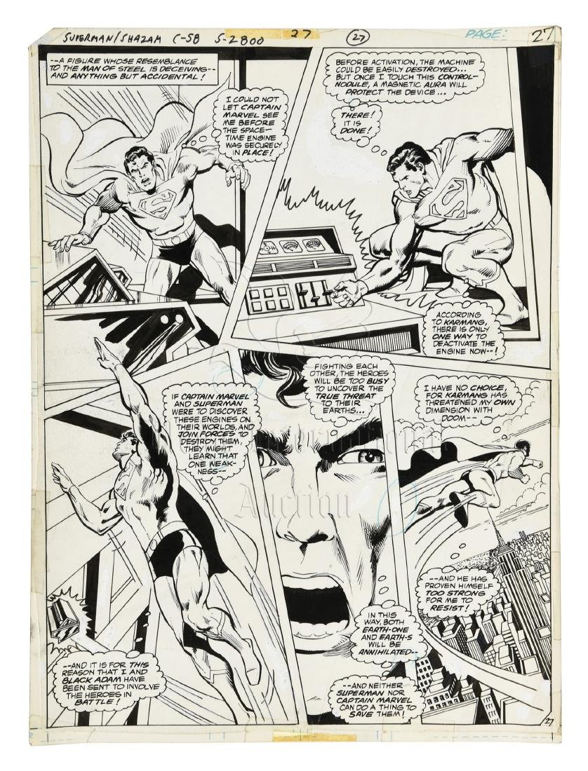 ORIGINAL SUPERMAN/SHAZAM COMIC OFFSET STORYBOARD PAGE