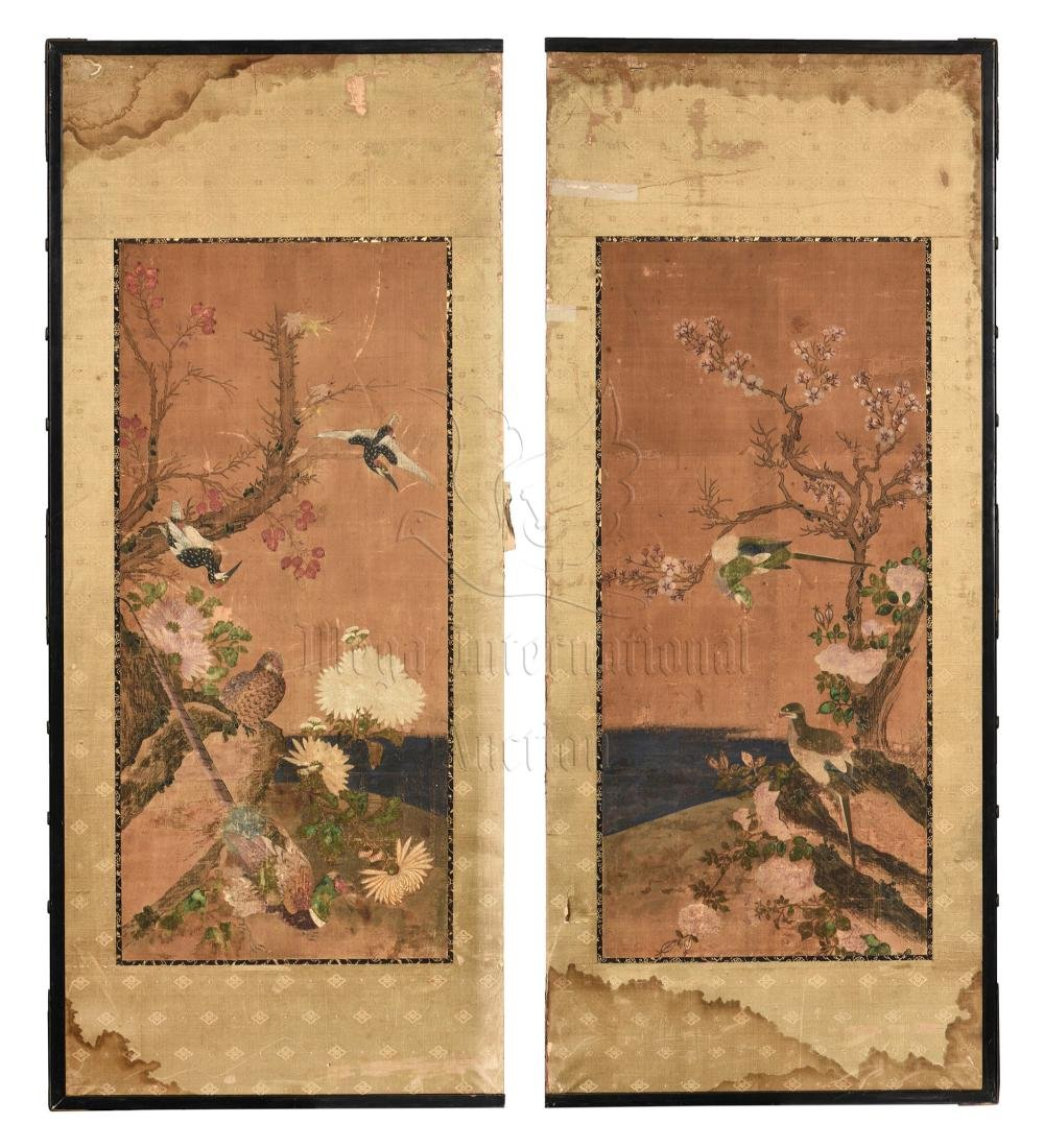 TWO JAPANESE INK AND COLOR ON CLOTH SCREEN PANELS