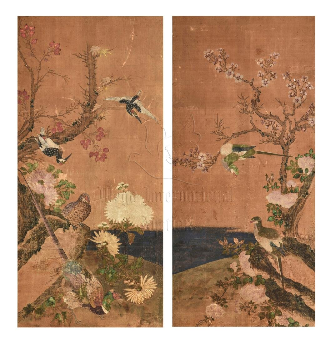 TWO JAPANESE INK AND COLOR ON CLOTH SCREEN PANELS - 2