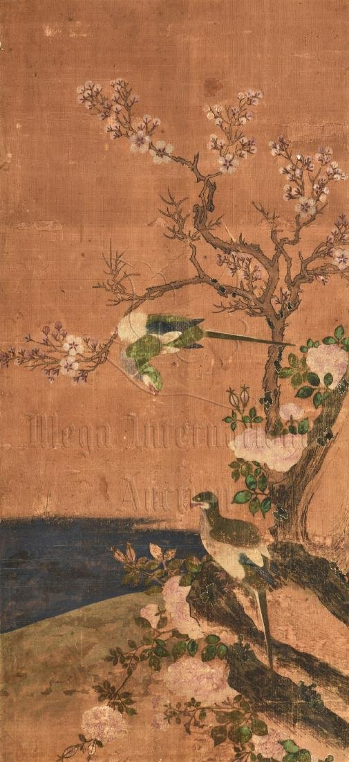 TWO JAPANESE INK AND COLOR ON CLOTH SCREEN PANELS - 3