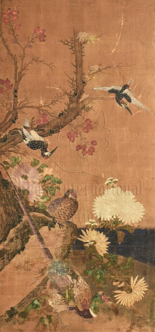 TWO JAPANESE INK AND COLOR ON CLOTH SCREEN PANELS - 4