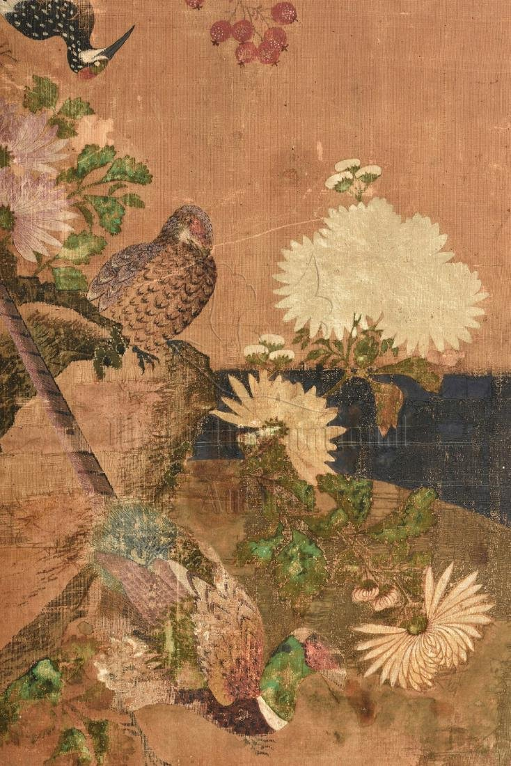 TWO JAPANESE INK AND COLOR ON CLOTH SCREEN PANELS - 5