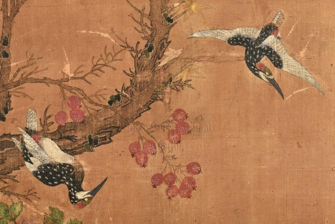 TWO JAPANESE INK AND COLOR ON CLOTH SCREEN PANELS - 6