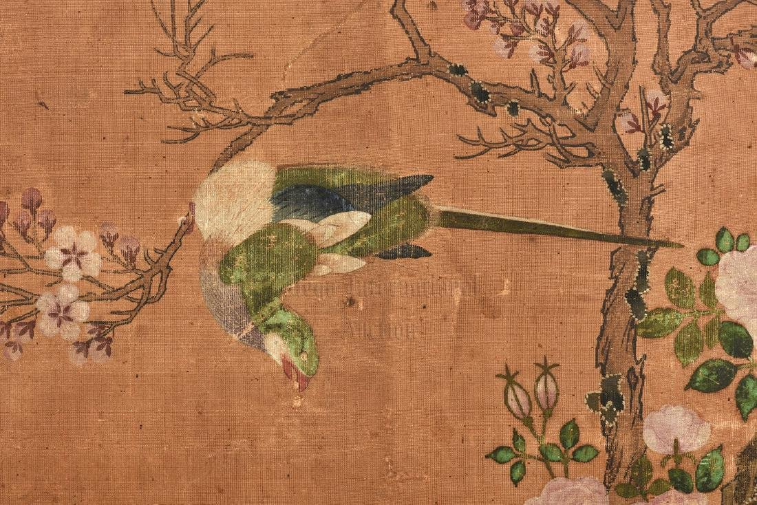 TWO JAPANESE INK AND COLOR ON CLOTH SCREEN PANELS - 7