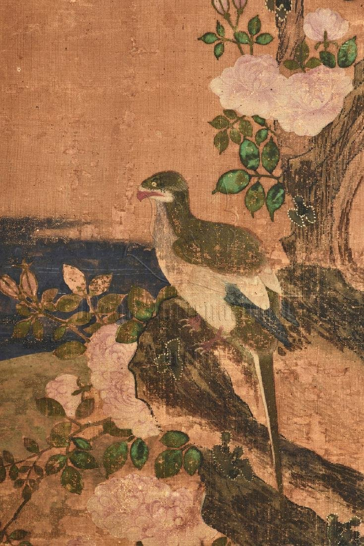 TWO JAPANESE INK AND COLOR ON CLOTH SCREEN PANELS - 8
