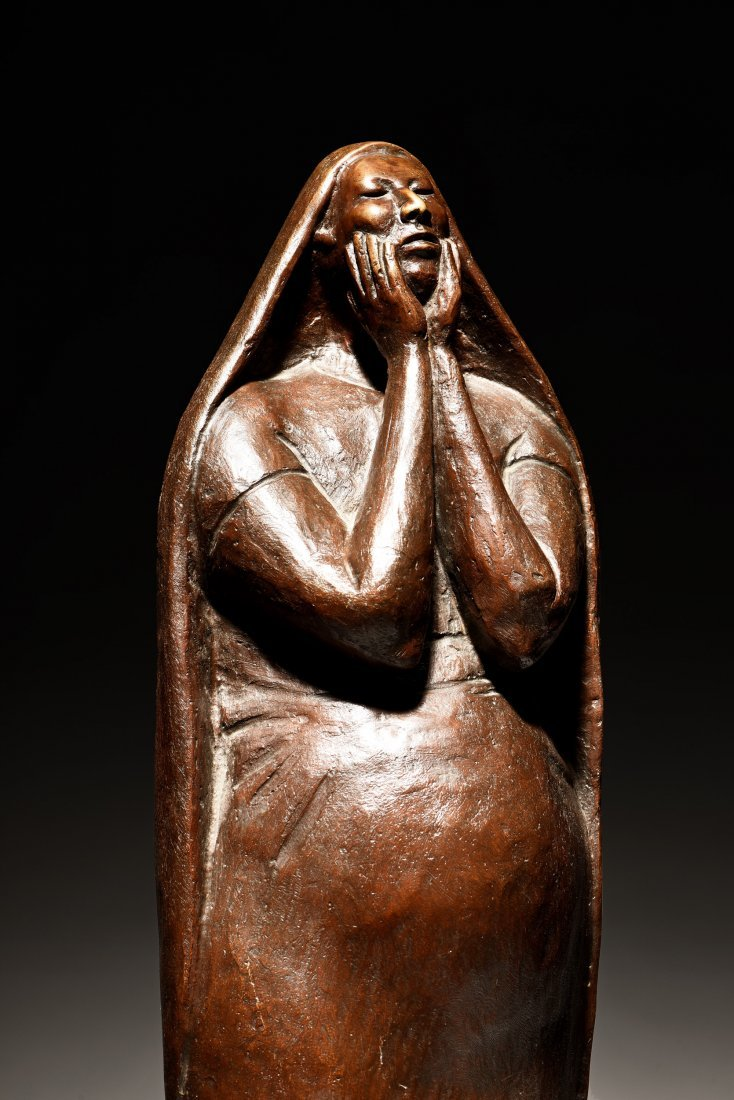 FRANCISCO ZUNIGA FIGURE OF A WOMAN WITH HANDS TO FACE - 6