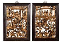 TWO PARCEL GILT WOODEN DECORATIONS