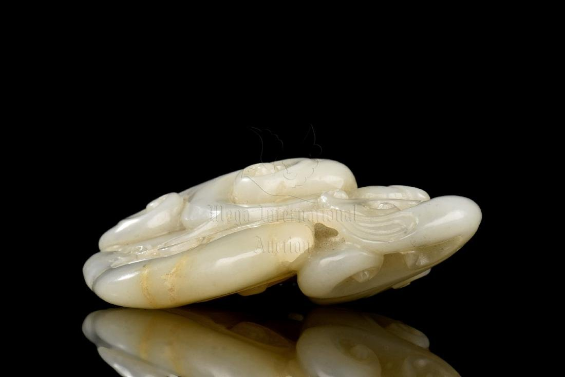 JADE CARVED 'LINGZHI' ORNAMENT - 4