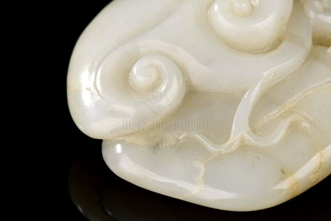 JADE CARVED 'LINGZHI' ORNAMENT - 9