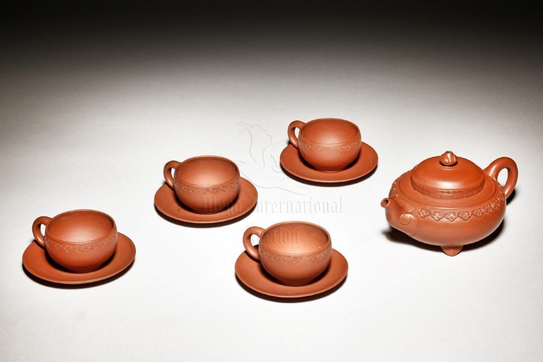 GU JINZHOU: SET OF FIVE ZISHA TEAPOT AND TEA CUPS