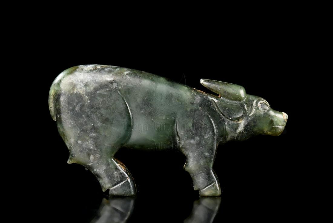 CELADON JADE CARVED 'WATER BUFFALO' FIGURE - 3