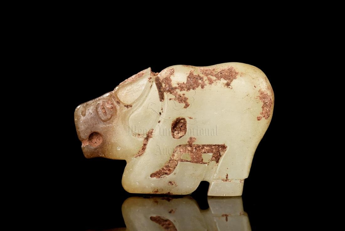 JADE CARVED 'WATER BUFFALO' ORNAMENT - 2