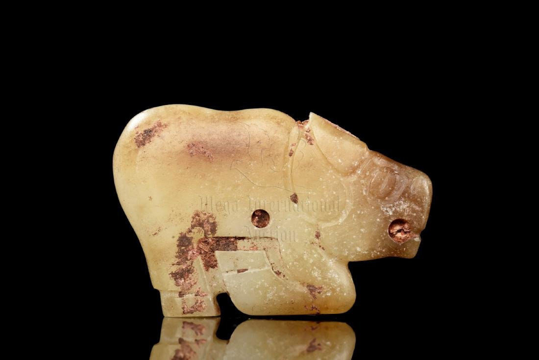 JADE CARVED 'WATER BUFFALO' ORNAMENT - 3