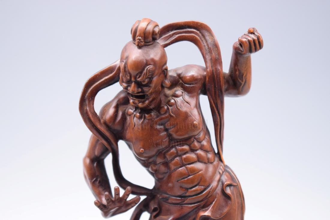 PAIR OF HUANGYANGMU WOOD CARVED 'GUARDIANS' FIGURES - 3