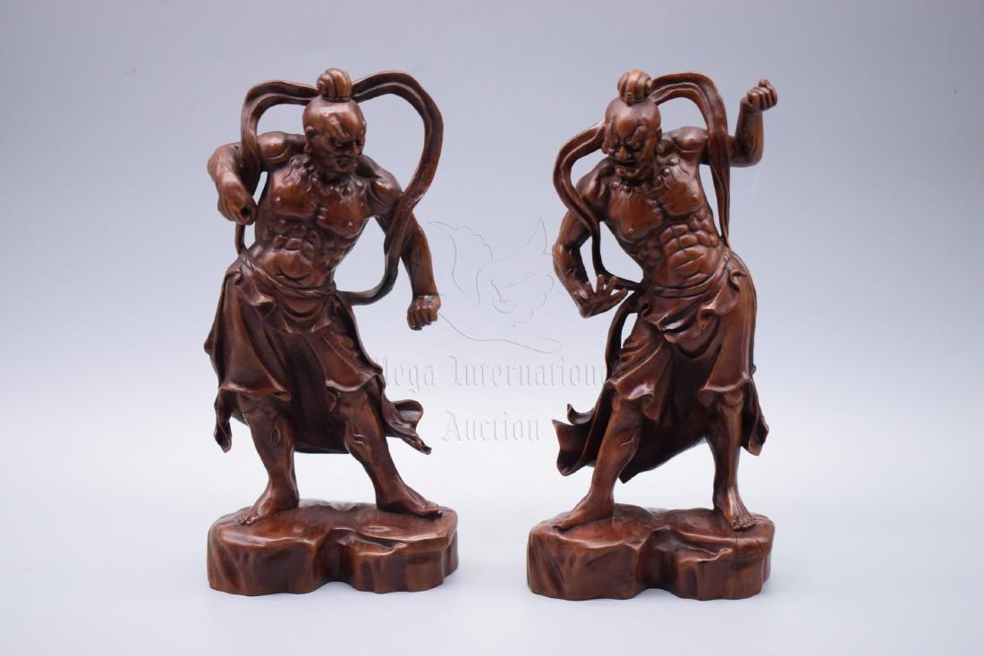 PAIR OF HUANGYANGMU WOOD CARVED 'GUARDIANS' FIGURES - 6