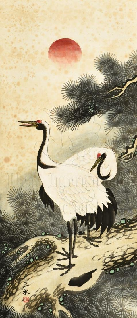 JAPANESE INK AND COLOR ON PAPER PAINTING 'CRANE'