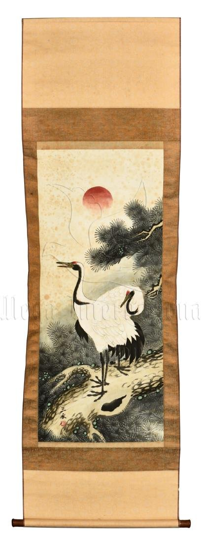JAPANESE INK AND COLOR ON PAPER PAINTING 'CRANE' - 2