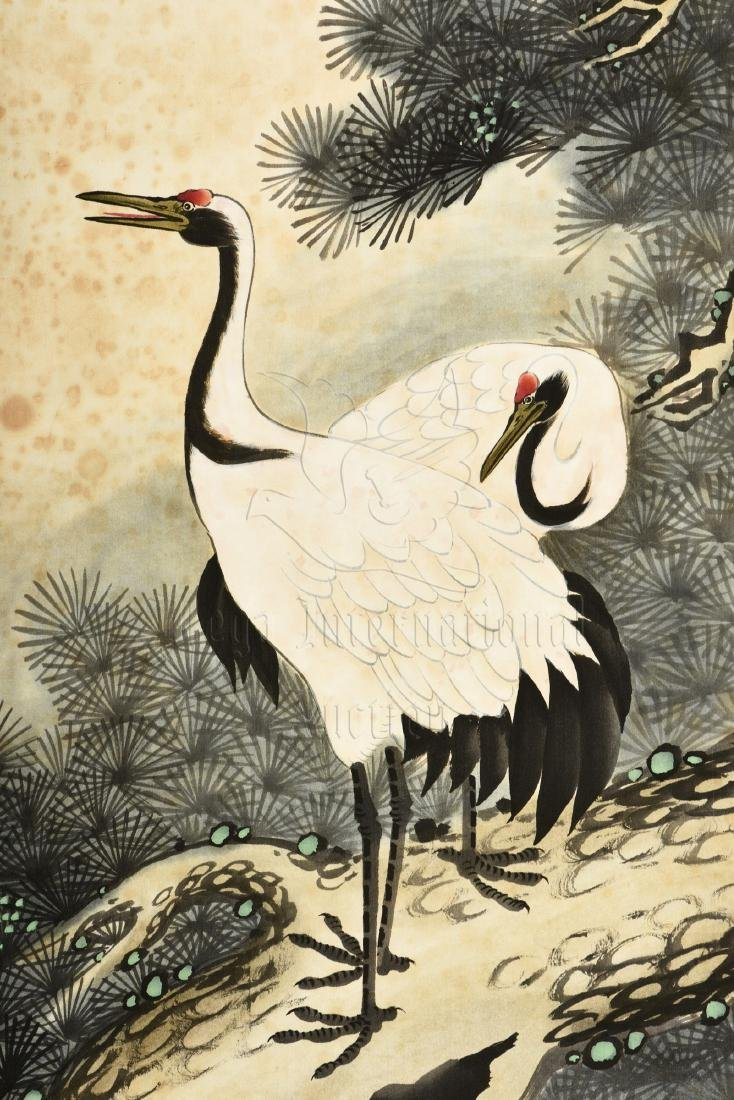 JAPANESE INK AND COLOR ON PAPER PAINTING 'CRANE' - 4