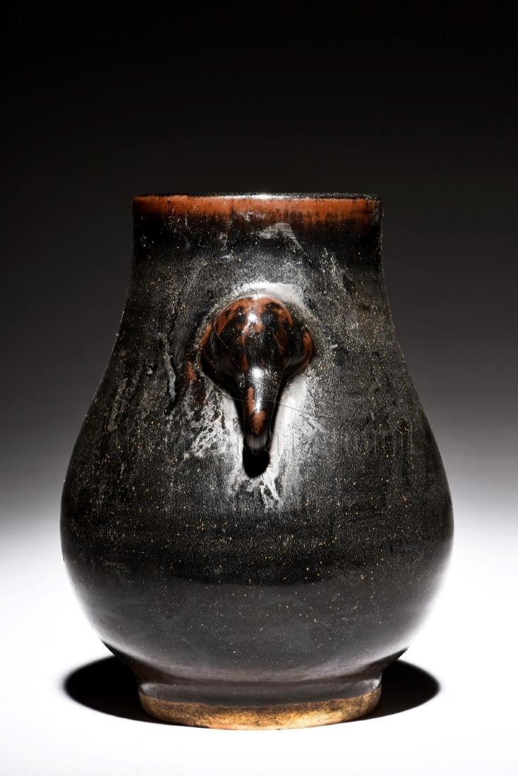 BLACK GLAZED JAR WITH ELEPHANT MASK HANDLES - 4