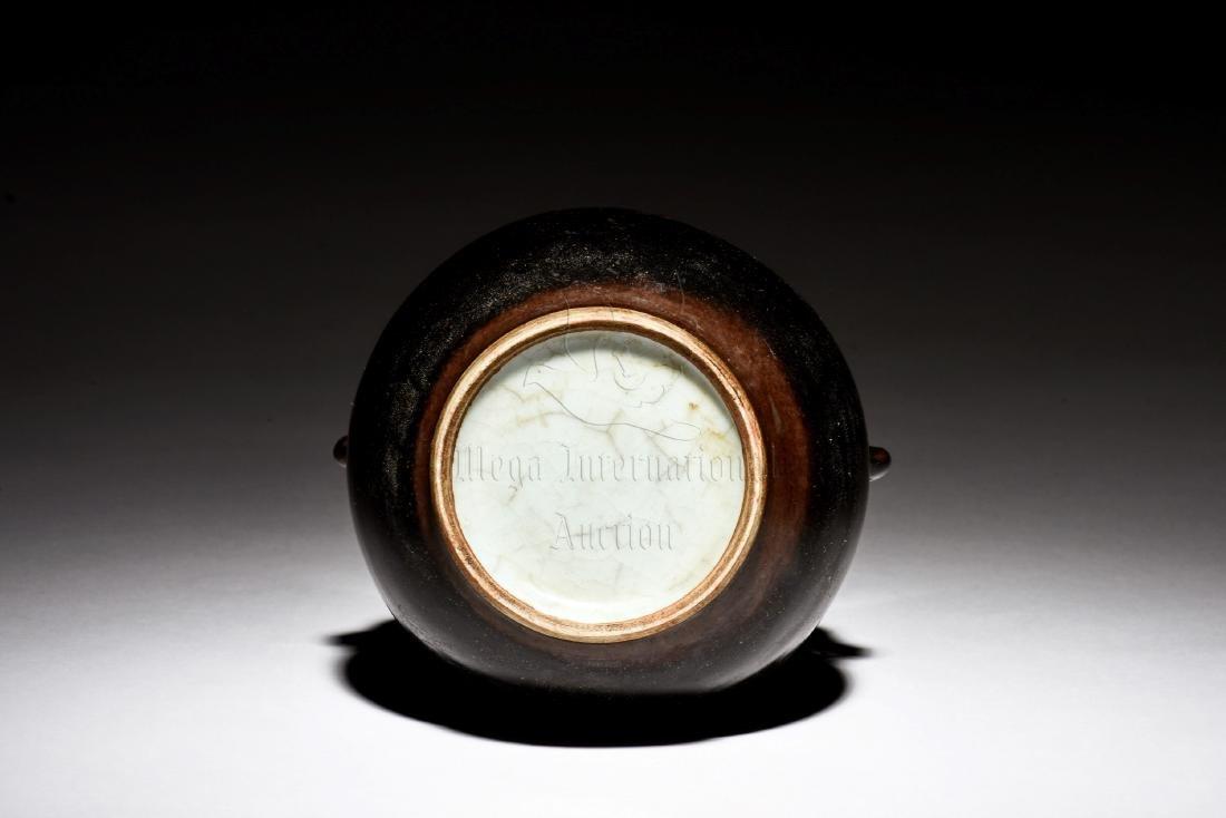 BLACK GLAZED JAR WITH ELEPHANT MASK HANDLES - 5