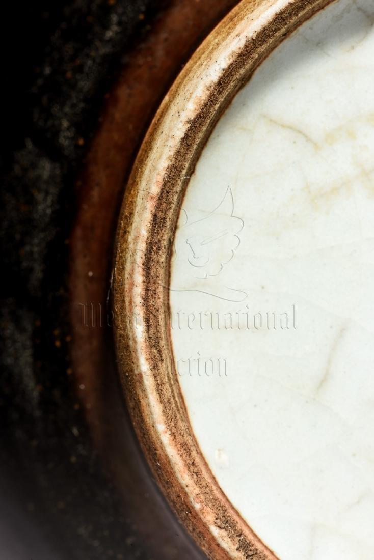 BLACK GLAZED JAR WITH ELEPHANT MASK HANDLES - 6