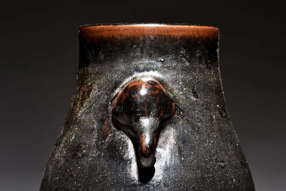 BLACK GLAZED JAR WITH ELEPHANT MASK HANDLES - 8